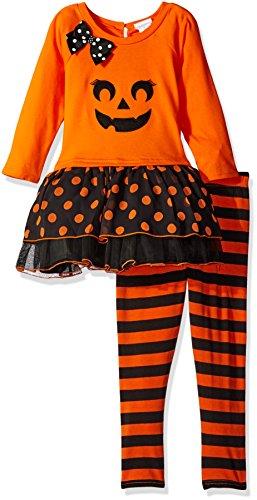 Youngland Little Girls' Halloween Pumpkin Face Tutu Mini Dress with Knit Striped Leggings, Orange/Black, 2