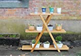 Multi - storey staircase interior flower stand solid wood living room balcony flower pot frame folding potted shelf
