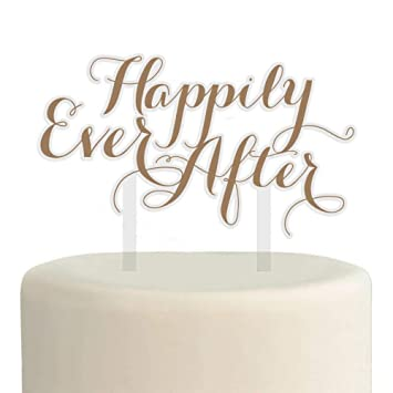 Happily Ever After Cake Topper Gold Wedding Cake Topper Amazoncom