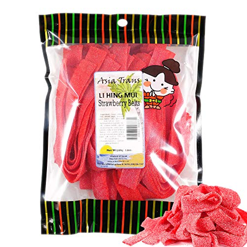 Mui Pack - Li Hing Mui Strawberry Belts 14 Ounce - Packed Fresh in Hawaii. Sweet and Tart strawberry belt candy sprinkled with Li Hing Mui Plum powder.