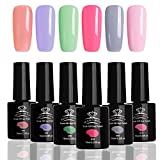 MAKARTT Summer Nails Gel Nail Polish Kit, UV LED Soak Off Gel Nails with 6 Pcs Summer Color Series P-06