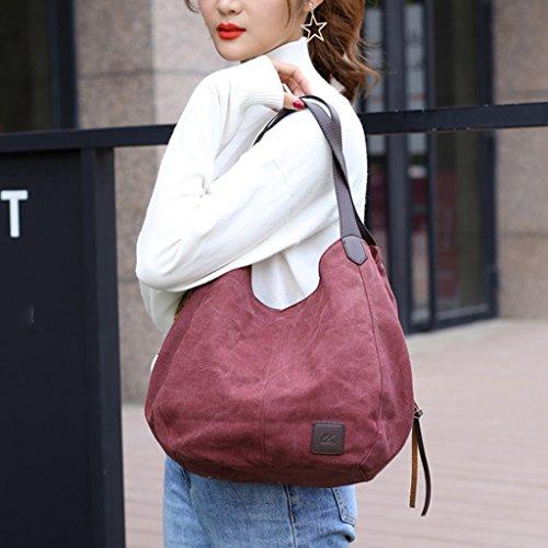Bag Canvas Red Beige Kofun Tote Shoulder Women For Messenger Hobo Handbag Lady Bags Purse POaavBwqS