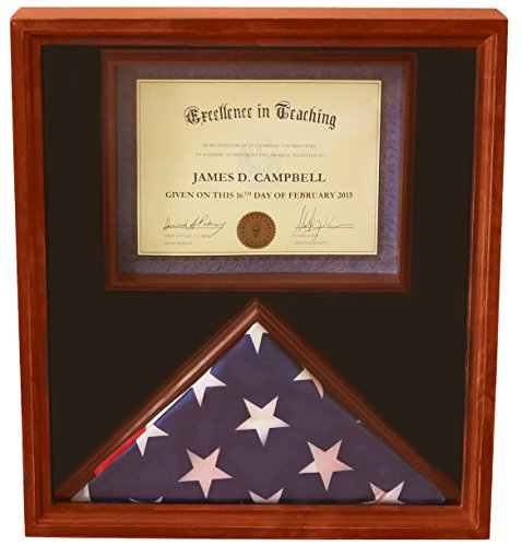 DECOMIL - 3x5 Flag Display Case with Certificate & Document Holder Big Frame - Flag Certificate Display Case