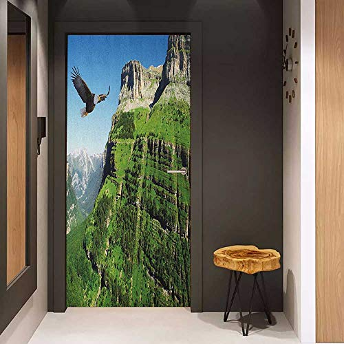 Onefzc Wood Door Sticker Eagle Wild Majestic Bird Flying Great Landscapes Green Mountains Forest Nature Image Easy-to-Clean, Durable W30 x H80 Green Blue Black ()