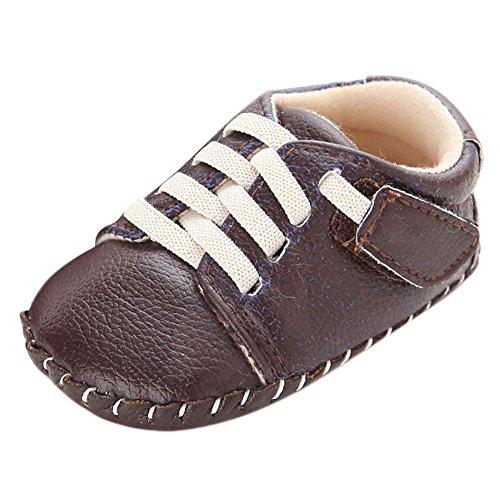 Fire Frog Sports Sneaker - Zapatos primeros pasos de Piel Sintética para niño marrón