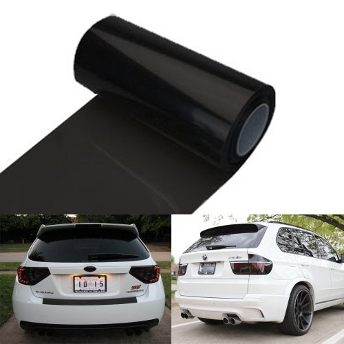 (12 by 48 Inches Self Adhesive Headlight, Tail Lights, Fog Lights Tint Vinyl Film (12 X 48, Dark Black))