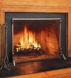"Solid Steel Flat Guard Fire Screen, 39""W x 31""H, in Bronze from Plow&Hearth®"