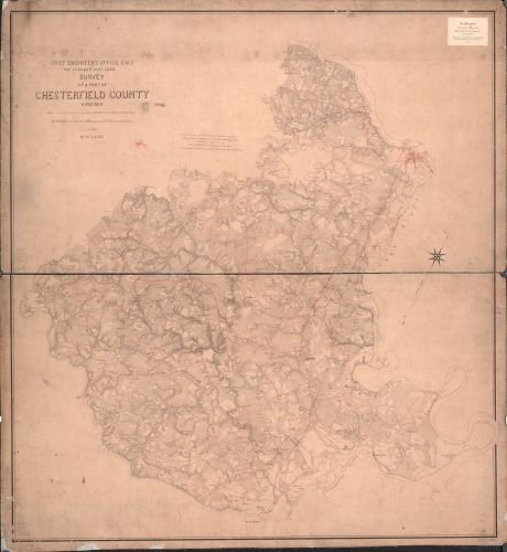 1863 Map Survey of a part of Chesterfield County, Virginia. - Size: 22x24 - Ready to Frame - - Town Chesterfield
