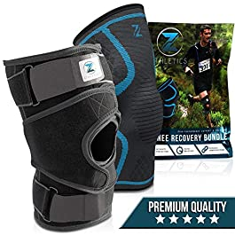 Zenith Knee Brace and Sleeve Bundle – Adjustable Support Braces for Men and Women, Best Neoprene Compression for Knees with Meniscus Tear, Arthritis, Patella, MCL, ACL (Large)