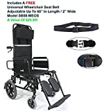 """Karman KM5000F-TP-22W - 22"""" Seat Width Lightweight Reclining Transport Wheelchair With Removable Desk Armrest, Frame Color: Black, Fixed Wheel & FREE Wheelchair Seat Belt"""