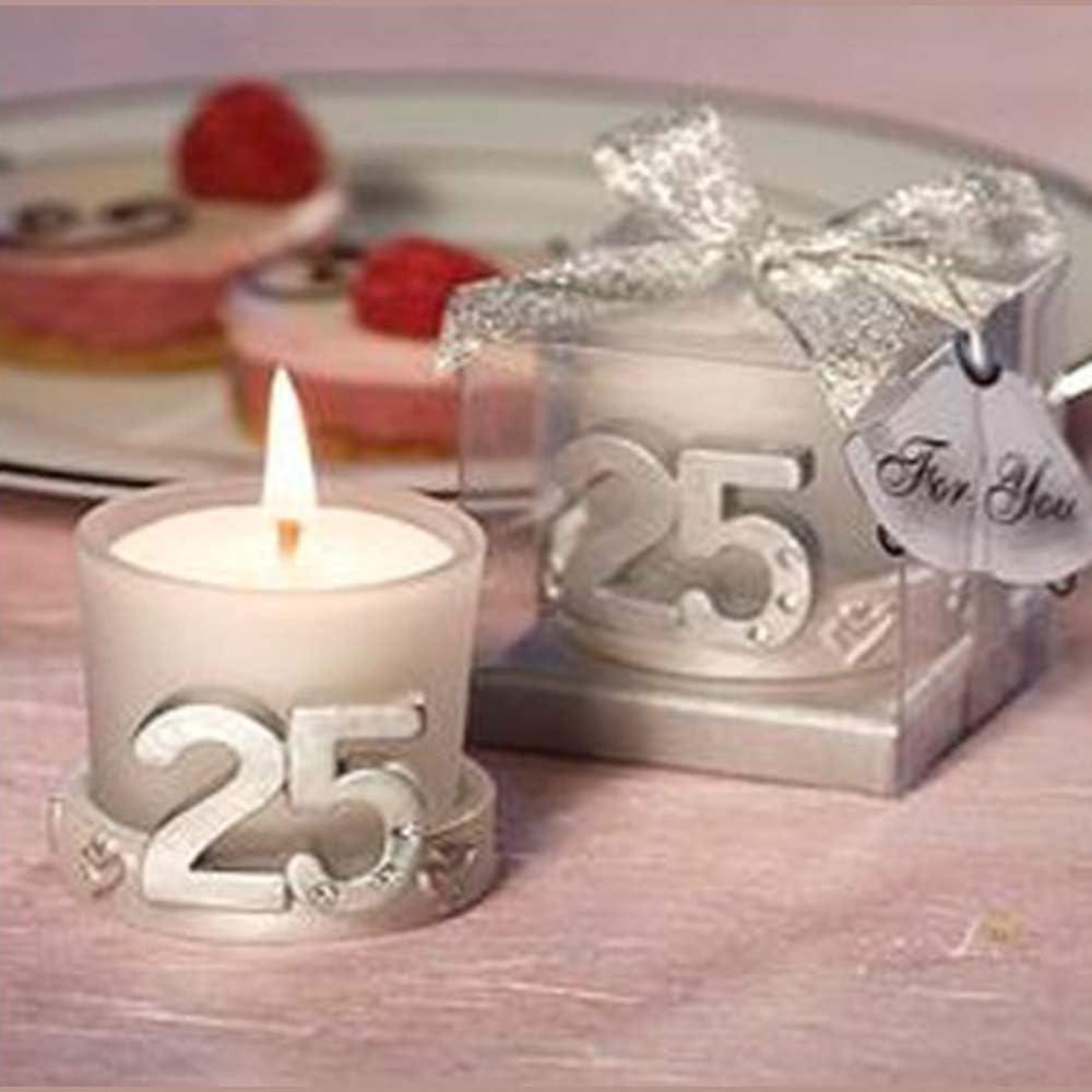 Lote de 10 Velas 25º Aniversario en Caja de Regalo - Bodas de Plata