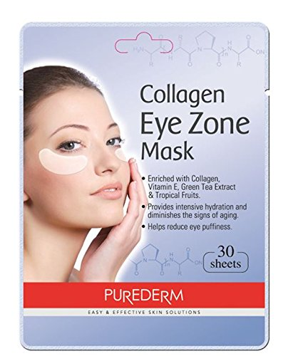 Deluxe Collagen Eye Mask Collagen Pads For Women By Purederm 2 Pack Of 30 Sheets/Natural Eye Patches With Anti-aging and Wrinkle Care Properties/Help Reduce Dark Circles and Puffiness Black Stone Eye