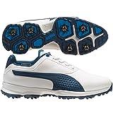PUMA Men's Titanlite Golf Shoe, White/Poseidon, 9.5 Medium