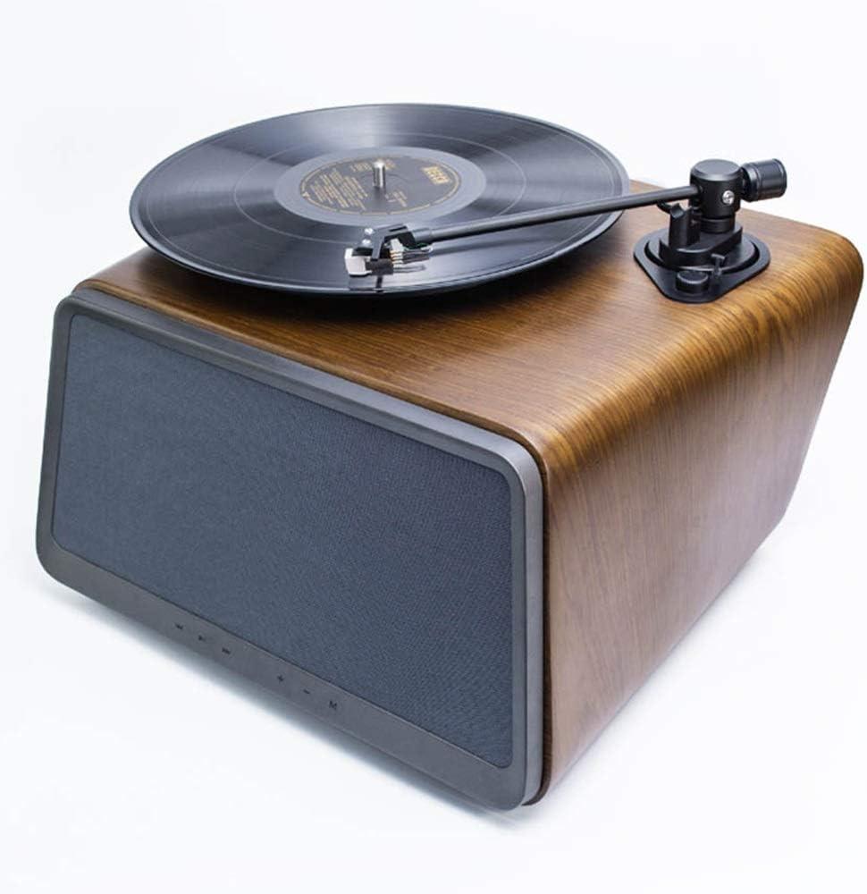 Jugador de Registro casero Altavoz De La Nuez del Disco De Vinilo Reproductor De Audio Inteligente Vinilo LP Tocadiscos Bluetooth Pequeño Hogar (Color : Marrón, tamaño : 38x35x25cm)