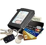 edfamily Genuine Leather Credit Card Case Mini Key Wallets Purse for Women Men(Black)