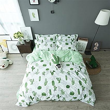 auvoau simple cactus bedding childrens cartoon duvet cover set girl bedding set 4pc king - Cactus Bedding