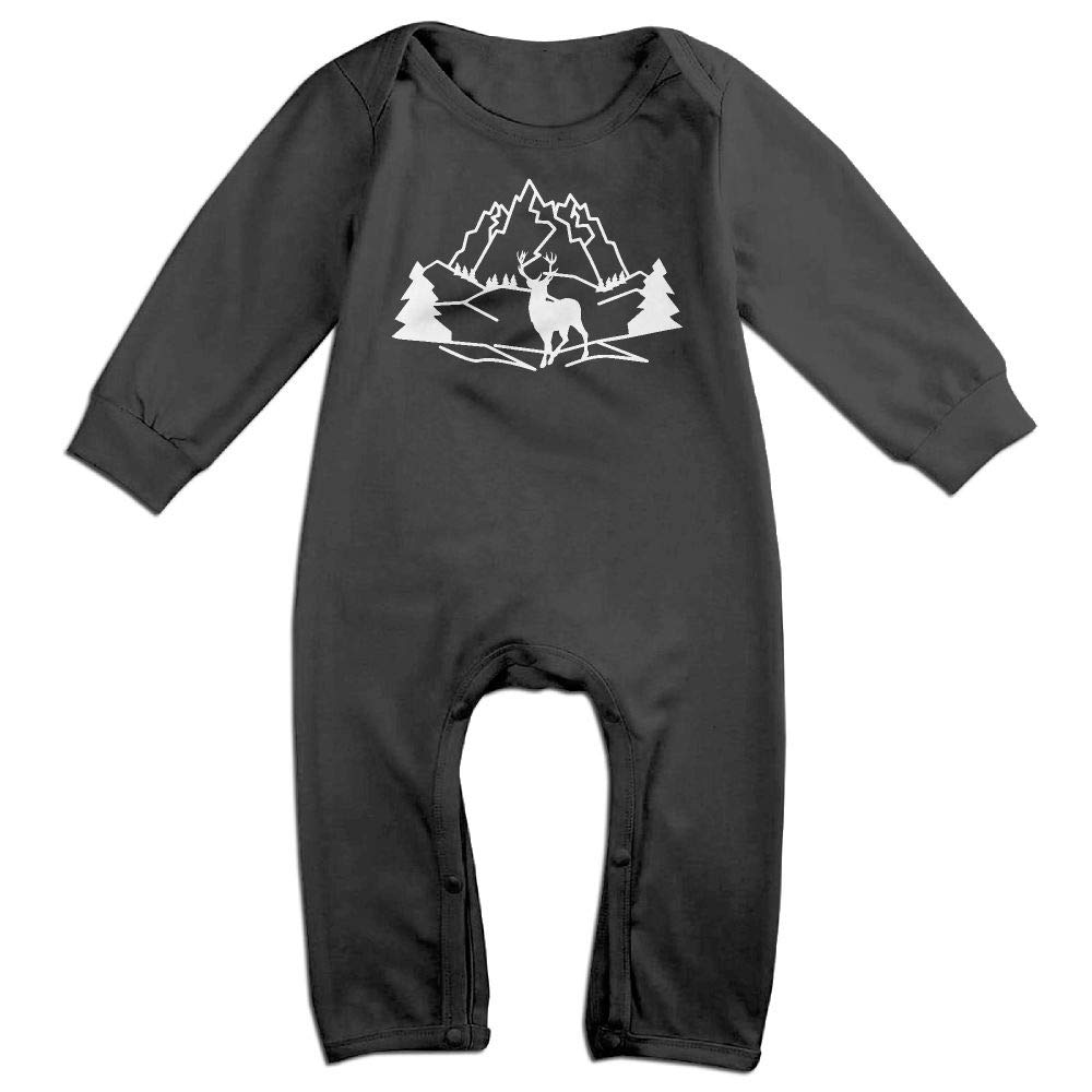 Deer Mountains Silhouette Long Sleeve Infant Baby Unisex Baby Bodysuit for 6-24 Months Bodysuit