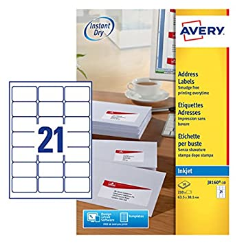 Avery Self Adhesive Address Mailing Labels, Inkjet Printers, 21 Labels per  A4 Sheet, 210 labels, QuickDRY (J8160)