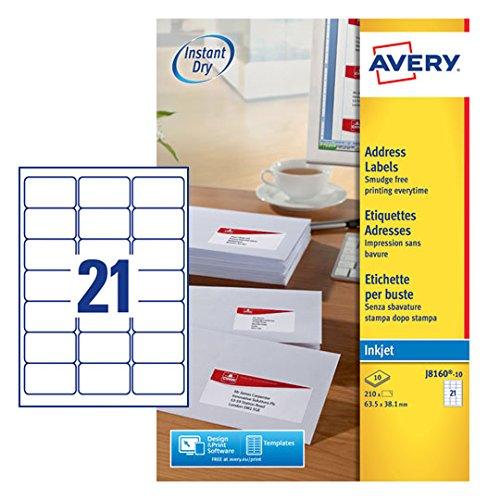 Avery A4 210 x 297 mm 2700 etichette 10 fogli x 21 colore: Bianco