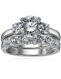Platinum-Plated Sterling Silver Swarovski Zirconia Three-Stone Ring Set