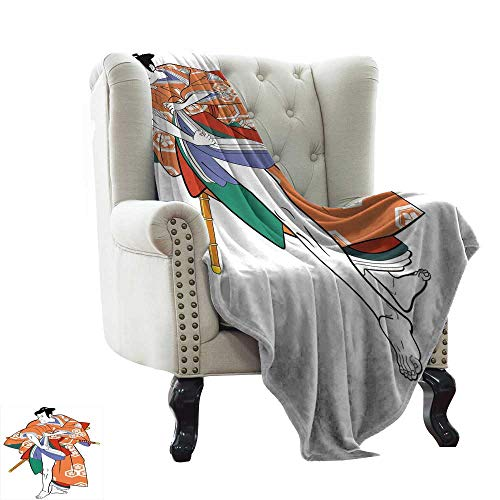 LsWOW King Size Blanket Kabuki Mask Decoration,Kabuki Actor with Traditional Costume Historic Edo Era Drama Culture,Multicolor Colorful,Home,Couch,Outdoor,Travel Use 30