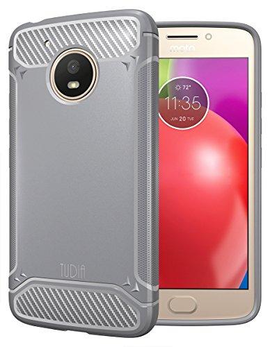 Moto E (4th Generation) Case, TUDIA Carbon Fiber Design Lightweight [TAMM] TPU Bumper Shock Absorption Cover for Motorola Moto E4 (Gray)