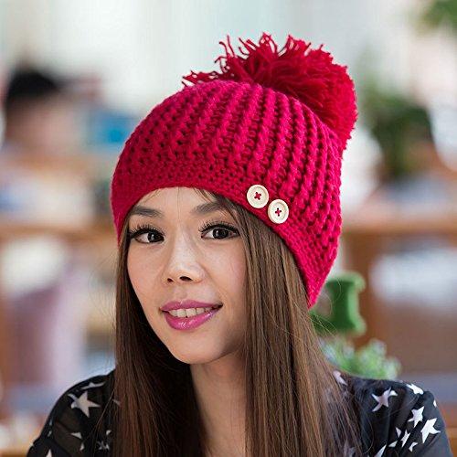 versión RED del Gruesos Invierno Huesos Sombrero Lana Punto de Postes de White Coreana Maozi Señora otoño wxZRq1RY