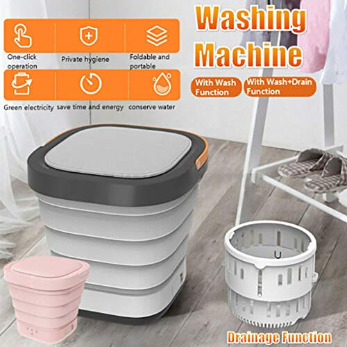 ZQW 2020 Upgraded Portable Washing Machine, Folding Fully automatic Laundry Machine, Turbine Washer, USB Cable, Low Noise, Mini Washing Machine for Camping, Apartments, Dorms, Business Trip