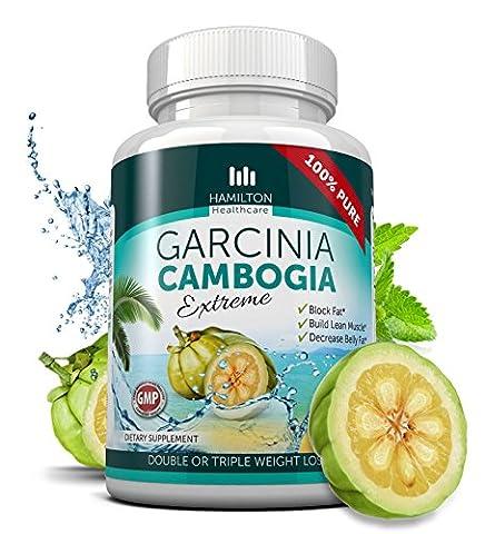 80% HCA EXTREME GARCINIA CAMBOGIA - 100% Pure Extract - 180 Capsules - All Natural Formula with Potassium - by Hamilton (Carcinia Cambogia Premium)