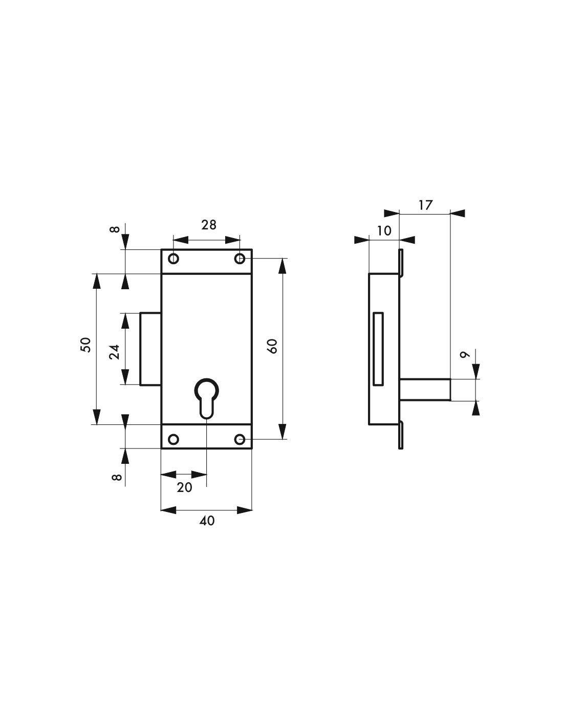 40 mm Cerradura para mueble de lat/ón Thirard