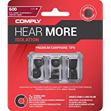 Comply 17-60200-21 Premium Replacement Foam Earphone Earbud Tips, Isolation T-600, 3 Pairs, S/M/L, Black