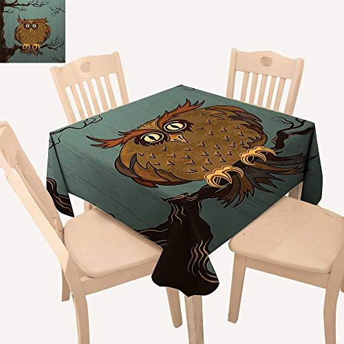 UHOO2018 Decorative Tablecloth Exhausted Hangover Tired Owl Tree Eyebrows Nature Fun Work Blue Square/Rectangle Kitchen Tablecloth Picnic Cloth,50x 50inch