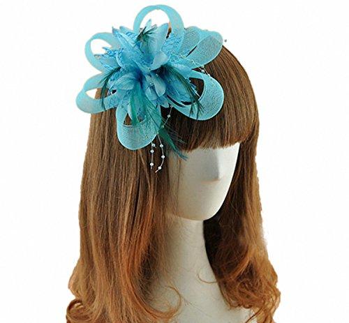 Cap Headpiece (Coolr Fascinator Hair Clip Cocktail Headwear Flower Bridal Headpieces (Light Blue))