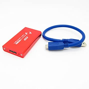 Amazon.com: Rojo mSATA SSD 3 x 5 cm a USB 3.0 Convertidor ...