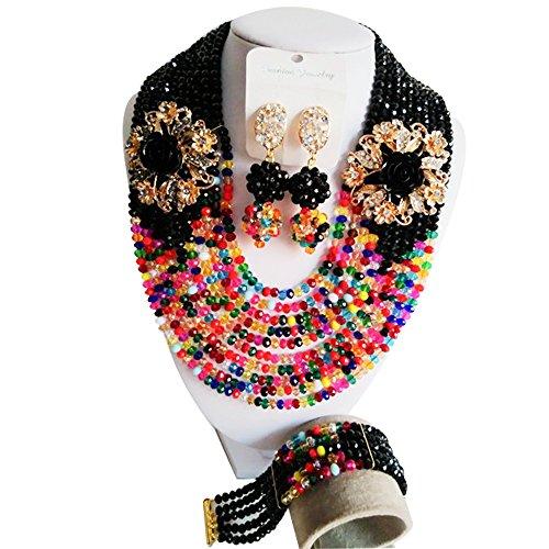 laanca Nigeria Beads boda África 10líneas multicolor Crystal Collar Pulsera pendientes joyería conjuntos