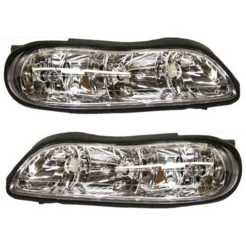 Headlight Assembly Compatible with 1997-2003 Chevrolet Malibu/Classic 2004-2005 Halogen Composite Passenger and Driver Side