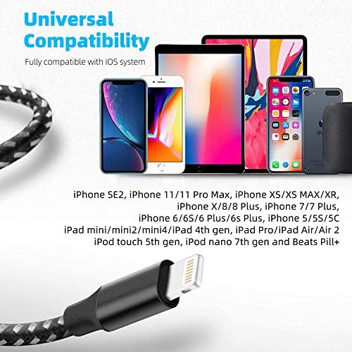 iPhone Charger Mfi Certified Lightning Cable 3Pack 10FT Nylon Braided iPhone Charger Cable Fast Charging Syncing Long Cord Compatible iPhone 12/Max/11Pro/11/XS/Max/XR/X/8/8P/7 and More