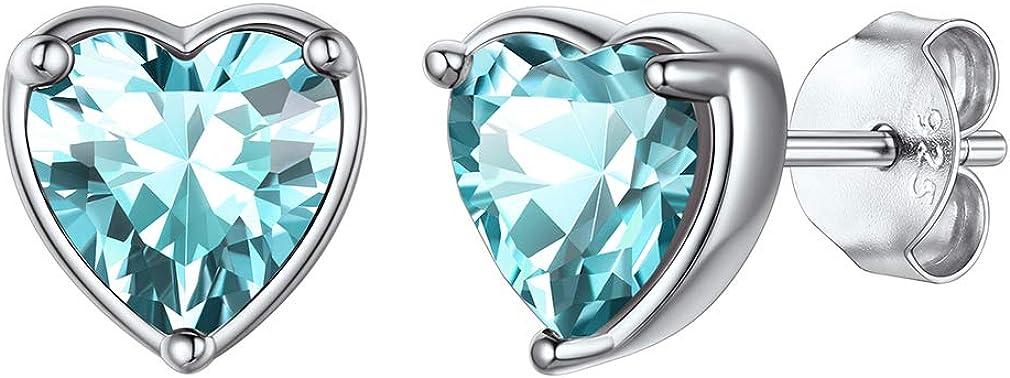 FaithHeart Corazón Pendientes Mujeres Piedras Preciosas de Nacimiento Plata de Ley 925 Joyería Romántica para Novias y Mejores Amigas 12 Colores Disponibles