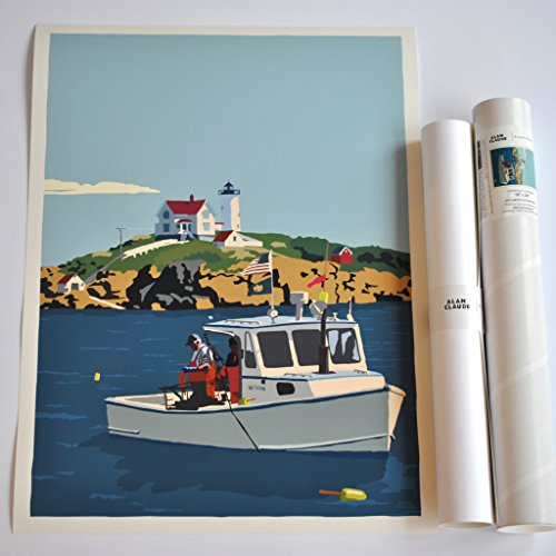Lobstering at the Nubble Light Print (18x24 Giclee Poster, Wall Decor Art) ()