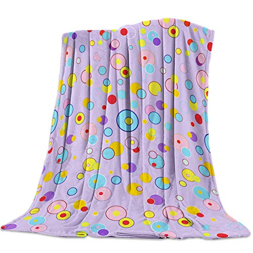 Womenfoucus Flannel Fleece Throw Blanket Ultra Soft Warm Fuzzy Plush Lightweight Microfiber All Season Bed/Couch Blankets - Twin Size 50 x 60 Inch, Colorful Polka Dots