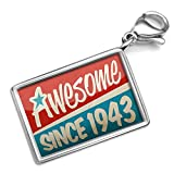 Neonblond Awesome since 1943, Birthday/Year - Charm Lobster Clasp clip on