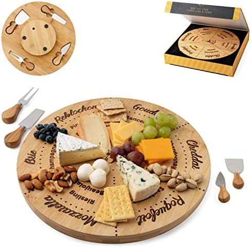 Permaggio Wine Pairing Cheese Board and Knife Set: Swivel Round Serving Tray - Great Birthday Gift
