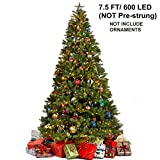 7.5 Foot Artificial Christmas Tree with 600 LED Warm White String Lights (NOT Pre-Strung) 8 Lighting Modes Fake Xmas Tree with Durable Metal Legs, 1350 Tips
