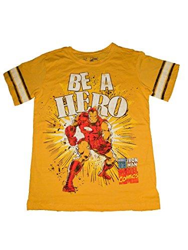 Marvel Avengers Themed Boys T-shirt (M, BeAHero(Yellow)) (Loki Avengers Costume)