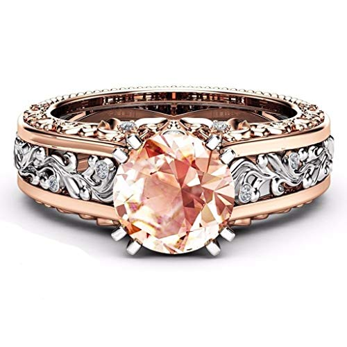 - Naomi Vintage Round Cut Champagne Topaz Aquamarine Garnet 14K Rose Gold & Yellow Gold Filled Sterling Silver Gift Wedding Engagement Ring Light Blue 8