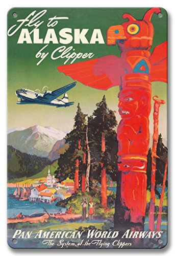 Pacifica Island Art 8in x 12in Vintage Tin Sign - Fly to Alaska - by Clipper - Pan American World Airways - Native Totem Pole by Mark Von Arenburg - Native American Art Totem Poles