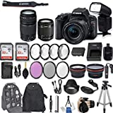 Canon EOS Rebel SL2 DSLR Camera EF-S 18-55mm f/4-5.6 is STM Lens + EF 75-300mm f/4-5.6 III + 2Pcs 32GB Sandisk Memory + Universal Flash + Filter & Macro Kits + Backpack