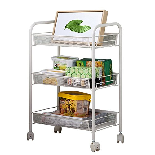 Wire Open Cart (JS Home 3-Tier Rolling Cart Kitchen Storage Cart Mesh Wire, White)