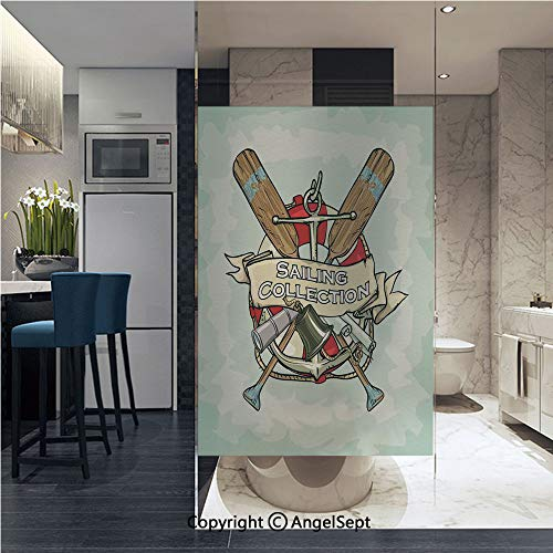 (AngelSept Window Film Door Sticker Glass Film Sailing Collection Yacht Club Bell Antiques Historical Items Long Glass Life Saver Both Suitable for Home and Office, 22.8 x 35.4 inch,)