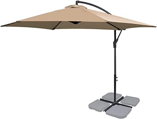 FRUITEAM 10Ft Patio Offset Umbrellas Hanging Garden Umbrellas Large Market Umbrella